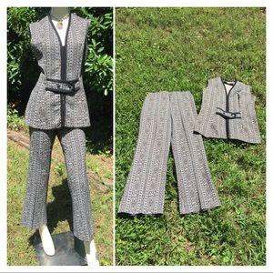 Vintage Polyester Wide Leg Pant suit